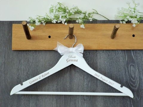 Personalised White Wooden Wedding Dress Hanger Bride Bridesmaid Bow